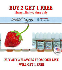 MAX VAPOR  E-Juice/E-Liquid 1 bottle 30 ml  ZERO Nicotine Strawberry Flavor