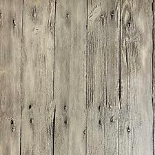 "Vintage White Washed Faux Wood with Knots PVC Wallpaper 20.5""x394""/Volume Q"