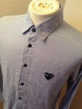 PLAY Comme Des Garcons Button Up Dress Shirt Sz XL EUC Striped Big Heart Logo