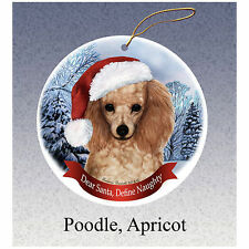 Poodle Apricot Howliday Porcelain China Dog Christmas Ornament