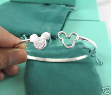 New Silver Mickey Mouse Chic Charm Cuff Women Bracelet Bangle d007