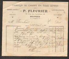 """BOURGES (18) USINE / FABRIQUE de CHAISES """"P. FLEURIER"""" en 1921"""