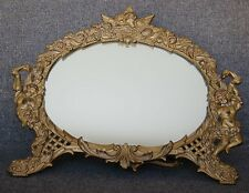 CHARMING VICTORIAN ERA GILT METAL KISSING PUTTI CUPID MOTIF EASEL MIRROR