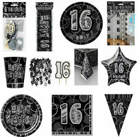 16th Black Glitz Birhtday Party Supplies Decorations Tableware 18 items Free P+P