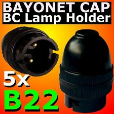 5 pcs B22 Lamp Holder Bayonet Cap BC Bulb Light Fitting Accessories 240V BLACK