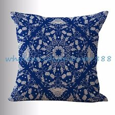 US SELLER- throw covers blue Chinese porcelain geometrical print cushion cover