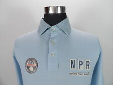 Mens NAPAPIJRI Polo Shirt, Size M Medium, Light Blue, Long Sleeve, Cotton #BL438