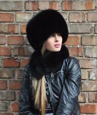 Norwegian black fox fur full hat.S/M or L/XL