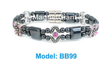 Pink Cubic Zirconia  - Double high power magnetic black hematite beaded bracelet