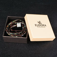 Beaded India Birthstone Bracelet Women Men leather 3 wraps leather bracelet