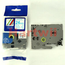 Brother TZ-253 P-Touch Compatible Blue on White Label Tape 24mm 8m TZe-253