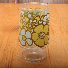 Vintage Blue and Green Flower Footed Drinking Glass