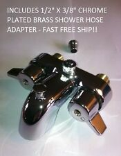 HEAVY METAL CHROME DIVERTER FAUCET FOR CLAWFOOT TUB ON LEGS WITH SHOWER ADAPTER