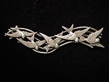 """JJ"" Jonette Jewelry Matte Silver Pewter 'Row of Flying Sparrows' Pin"
