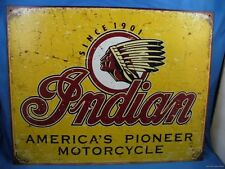 INDIAN AMERICA'S PIONEER MOTORCYCLE SINCE 1901 METAL SIGN Made in USA  American