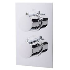 Concealed Thermostatic Shower Valve Round Chrome Dual Control Diverter Mixer