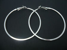 "A PAIR OF  SILVER PLATED  LARGE 60MM 6CM  2.5""  HOOP  EARRINGS. NEW."