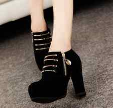 Women's Chunky Zip Platform Ankle Boots High Heels Shoes Pumps Suede Hoe Sale Sz