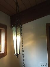 Hanging Mid Century Modern Glass Metal Light Lamp Rare Gothic Church Ceiling