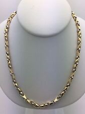"Brand Men's Solid 10K Two Gold 26"" Handmade Chain Link Necklace 48.9 grams 5 mm"