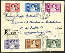 LUXEMBOURG SCOTT #285-91 STAMP SET ON REGISTERED ROYALTY COVER 1953