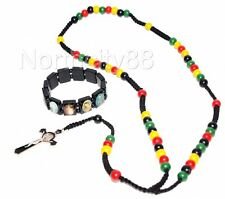 Rosary Necklace Rasta colors Black Cord Benedict Cross with Saint bracelet