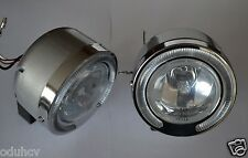 Vintage Front Spot Fog Lights LED Angel Eye Ring Lamps Car Bullbar Bumper Grille