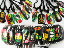 22pcs Bob Marley mix Bracelets and  pendants with black strings necklace