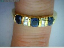 14k Yellow Gold Diamond Ring Band 3 Sapphires 8 baguette diamonds