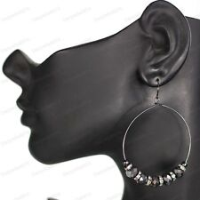 CZECH GLASS BEAD HOOP 7cm drop EARRINGS gothic crystal HEMATITE GREY black hoops
