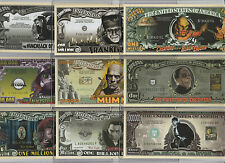 Classic Monster Movies Set of 9 Million Dollar Bill Novelty Notes w/Protectors