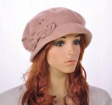 JM142 Beige Classic Bow Warm Wool Acrylic Hat Beanie Cloche Cap Women's Winter