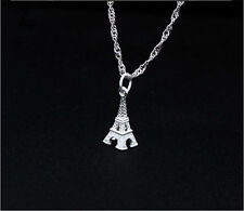 "Solid S925 Sterling Silver Small 3D Eiffel Tower Pendant Chain 18"" Necklace Gift"