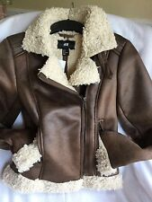 H&M Faux SHEARLING Leather BIKER Aviator JACKET Brown, EUR 34 US XS/S 0/2