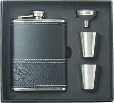 8oz Leather Wrap Stainless Steel Liquor Flask, Funnel & 2 Shot Cup Gift Set