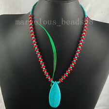 Teardrop Howlite Turquoise Red Coral Bead Gemstone Strand Necklace 19.5' G5073