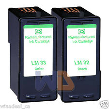 2 PK Lexmark 32 33 Ink Cartridge For X3330 X5250 X5450 X3350 X5270 X5470 Printer