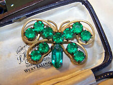 ANTIQUE EDWARDIAN JEWELERY GORGEOUS GREEN RHINESTONE BUTTERFLY INSECT BROOCH PIN