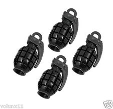Grenade Black Air Car Wheel Tyre Valve Dust Caps Covers Tire New Set of 4