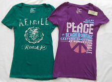 Lot 2 AMERICAN EAGLE Short Sleeve V-Neck Graphic Tee Shirt Tops Purple Green S