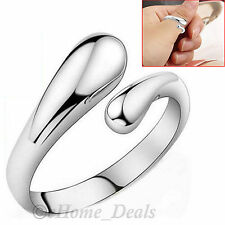925 Sterling Silver Adjustable Ring Teardrop Thumb Finger Band Wrap Fashion Ring