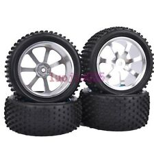 RC 1:10 Off-Road Car Buggy Front & Rear Rubber Tyre Tires Metal Wheel Rims M07S9