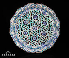 "14"" Indo Persian / Islamic Geometric Reticulated Pottery Charger c.1880"
