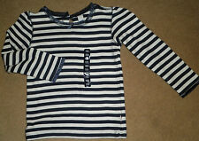Baby Gap Outlet 4T Shirt NEW Navy Blue White Stripe Cotton Long Sleeve Top Girl