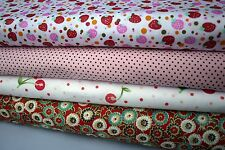 "4 pcs 12"" x 8"" 100% COTTON PATCHWORK FABRIC Red Flowers, Fruits, r4 *Great Buy*"