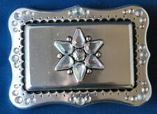 Crystal Rain Trophy Belt Buckle Polished Antique Silver Plaited black accents