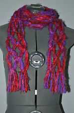 "Hand Knotted Scarf = Multi.-color = 80"" long , about 4"" wide"