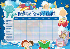 A5 Print - Children's Bedtime Reward Chart includes Smiley Face Stickers (Kids)