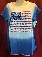 NWT Women's LUCKY BRAND Cotton Blend Dip Dye Embroidered Flag Tee Shirt Large