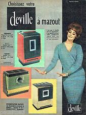 PUBLICITE ADVERTISING 096  1961  Deville   chaufffage à mazout